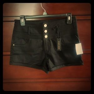Black hi-waist shorts